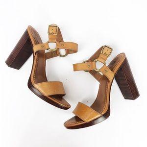 Frye Sara Harness Sandal Stacked Heels Tan size 10